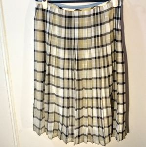 Calvin Klein Plaid Pleated Long Skirt